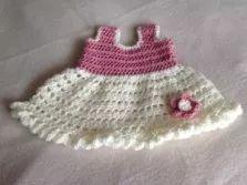Frilly flower crochet baby dress
