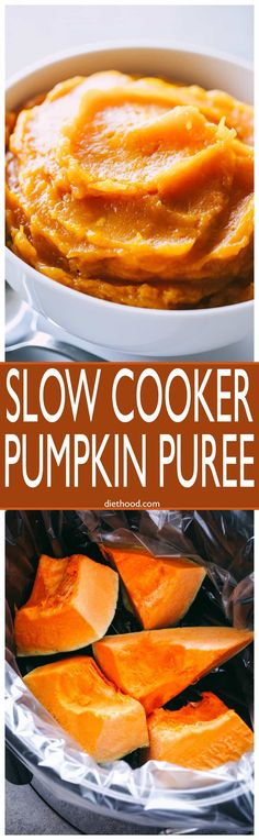 Slow Cooker Pumpkin Puree - Super easy way to prepare homemade and delicious #slowcooker #pumpkin puree, and it's so so so much better than store-bought! via @diethood