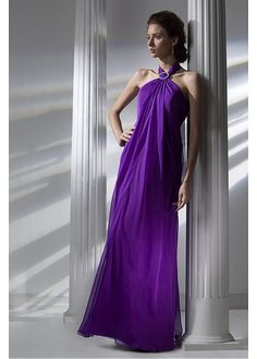 Gorgeous Silk Like Chiffon Halter Neckline Floor-length A-line Bridesmaid Dress