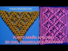Chal triangular tejido a ganchillo y cuadrado tejido a crochet paso a paso en punto arañas - YouTube