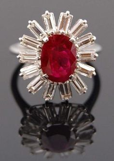Platinum Diamond Ruby Ring