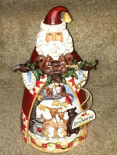 "Jim Shore Heartwood Creek ""Winter InThe Wood"" Santa with Squirrel Animals   eBay"