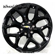 20 inch gloss black 2018 Snowflake Chevy Silverado Tahoe Suburban LTZ rims 6x5.5 · $879.99 Silverado Rims, Chevy Silverado 1500, Black Rims, Black Wheels, 20 Wheels, 20 Inch Rims, Chevy Trailblazer, Cadillac Escalade, Snowflakes
