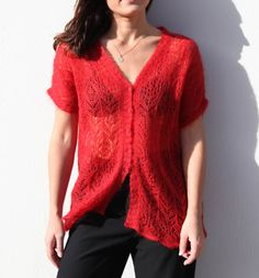 Mohair & silk red cardigan blouse