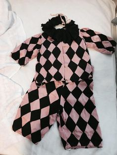 e1984748a624 Rare antique pink and black childrens three piece theater harlequin jester  pierrot costume collar amazing!