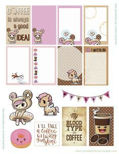 Free Printable Kawai Coffee and Dontella Planner Stickers from Victoria Thatcher