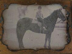 Young Lad on Horseback in Landscape Gazing at Artist 1 4 PL Daguerreotype Scene | eBay
