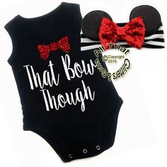 2 Pc Black, White and Red Glitter That Bow Though Mouse Girls OutfitThis is an exclusive and original design by All That Glitters & Gold! Are you looking for something really cute and unique for your little one to come home from the hospital in or do you know someone who is expecting and want to get them to the cutest baby shower gift possible? Are you looking for a cute outfit for your little girl to go to Disney in or the perfect outfit for your Minnie Mouse themed party? If so, our new Mi