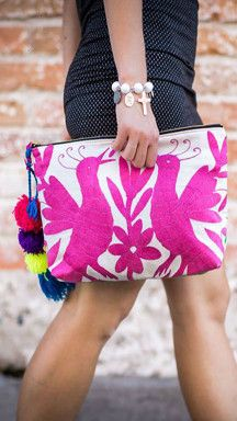 Michelle Over Sized Clutch featuring Otomi Embroidery ....pinned for ethnic fabric idea for clutches. More