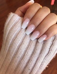 Light Pink Nail Designs, Light Pink Nails, Ombre Nail Designs, Soft Pink Nails, Neutral Nail Designs, Light Colored Nails, Pink Powder Nails, Pink Clear Nails, Neutral Gel Nails