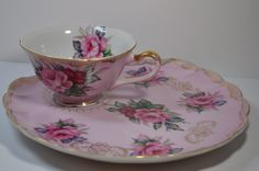 Lefton China Pink Tea Cup with Matching Saucer Snack Sandwich Dessert Plate | eBay
