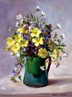 Anne Cotterill (1933-2010) –– Primroses and Stitchwort in a Green Jug (594x800)