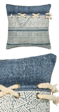 Delicate batik-inspired weave and a distressed denim look are pulled together by nautical x-knot. This piece offers delightful decoration for your lake house, but will also bring a breezy feel into you...  Find the Batik Pillow, as seen in the #ModernFrontierStyle Collection at http://dotandbo.com/collections/modernfrontierstyle?utm_source=pinterest&utm_medium=organic&db_sku=117009