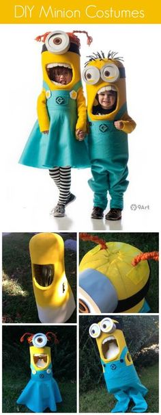 DIY Minions costumes - both boy and girl minions using foam and felt. These are awesome!