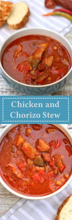 So simple, but so good, this chicken and chorizo stew recipe is perfect for the oven, slow cooker and even pressure cooker. Crockpot Recipes, Soup Recipes, Chicken Recipes, Dinner Recipes, Cooking Recipes, Healthy Recipes, Chorizo Recipes, Chicken Meals, Easy Recipes