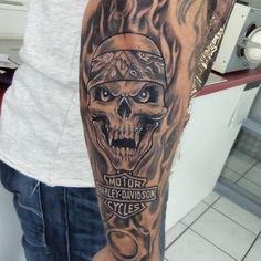Harley Tattoos, Harley Davidson Tattoos, Bike Tattoos, Skull Tattoos, Forearm Tattoos, Body Art Tattoos, Sleeve Tattoos, Epic Tattoo, Badass Tattoos