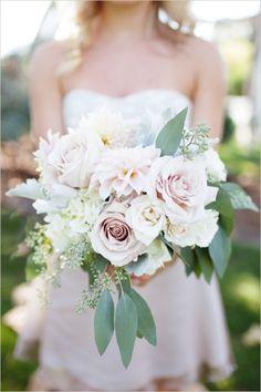 pink and green bridal bouquet #romanticweddingideas #bridesmaidideas #blushbridesmaid http://www.weddingchicks.com/2013/12/17/elegant-southern-california-wedding/