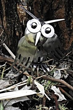 Wallace the Owl repurposed silverware by 2ndChanceMetalArt on Etsy