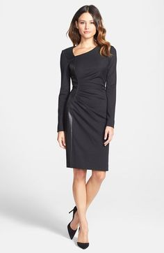 Classiques Entier® Leather Panel Knit Sheath Dress at Nordstrom.com. $328