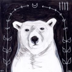 polar bear at night - black and white - original acrylic painting - small 6x6 square