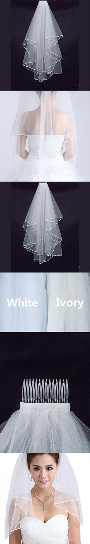 Onlinedress Women's Bridal Veil Ribbon Edge Double ribbon Wedding Veil Ivory