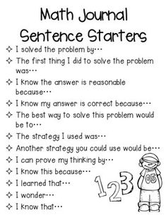 I use these math talk sentence starters for daily journals and reflections. Students glue these to the inside cover of their journals for reference. There are color and blackline masters for copying. I also included multiple slides in case you would like to print more than one to a page.