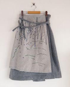 "zazizazizazi: zazi ""山のかけら、星の粒""sashiko wool wrap skirt /gray More - CraftIdea. Skirt Fashion, Diy Fashion, Ideias Fashion, Womens Fashion, Fashion Design, Steampunk Fashion, Gothic Fashion, Diy Clothing, Sewing Clothes"