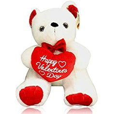 Happy Valentine's Day Bear - Plush White Stuffed Animal with Red Heart Teddy Gift By bogo Brands Valentines Day Bears, Teddy Bear Images, Teddy Bears, Plush, Lovers, Heart, Red, Gifts, Animals