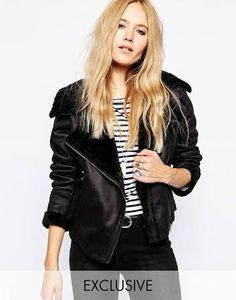 92fe353b3e Story Of Lola Boxy Flight Jacket In Faux Fur Suede Shearling on ShopperBoard