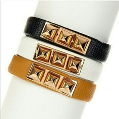 Stud Faux Leather bracelet Super cute bracelet with brass gold pyrimid studs accents, faux white leather perfect addition to any outfit. brand new Retail . ONLY WHITE AVAILABLE T&J Designs Jewelry Bracelets