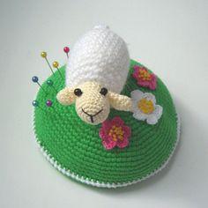 PDF PATTERN Crochet pin cushion /home decor Little white sheep on blooming green lawn/cute lamb on meadow/kawaii ewe/mothers day gift