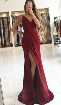 Sheath Prom Dresses,V-Neck Prom Dresses,Burgundy Prom Dresses,Split Prom Dresses,Prom Dresses 2017,Long Prom Dresses
