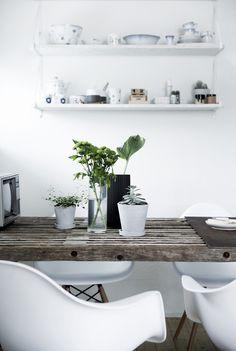 Hylderne er OSB-plader, der er malet og sat på hyldeknægte fra Ikea. Her står porcelæn fra Royal Copenhagen, noget arvet, andet købt i 2.-sortering. Tro mod sin rå stil pynter Line ikke med romantiske blomster, men enkle grønne planter. På det rå trallebord pynter grønne blade fra haven i en Lyngby-vase fra Hilfling Design.