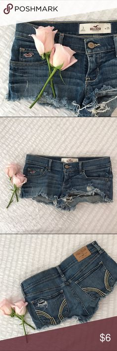 Cutoff / Jeans / Shorts / Daisy Dukes Curt of shorts for a daisy duke look. Can show a little cheek depending on how high you hike them up 😉 Fairly good condition. Hollister Shorts Jean Shorts