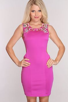 Magenta Faceted Gems Detail Party Dress