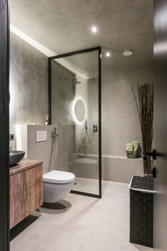 Small Industrial Apartment In Lithuania Gets An Inspiring Update throughout Industrial Modern Bathroom. Modern Bathroom Decor, Bathroom Interior Design, Small Bathroom, Bathroom Ideas, Cement Bathroom, Bathroom Bath, Bedroom Modern, Remodel Bathroom, Budget Bathroom