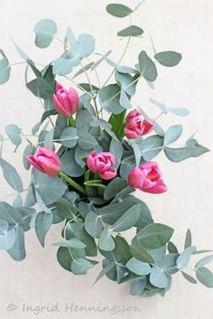 Eucalyptus-Pink Tulips. Would love to incorporate tulips since they were my mom's favorite.