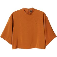 Monki Carmen blouse (210 MXN) ❤ liked on Polyvore featuring tops, blouses, shirts, crop tops, t-shirts, oxidised ochre, 3/4 sleeve tops, orange crop top, three quarter sleeve tops and shirt top