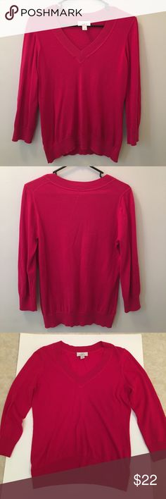 Ann Taylor LOFT v-neck sweater Ann Taylor LOFT light weight v-neck sweater.  Sleeves are about 3/4.  Color is dark pink. 11/4/17 LOFT Sweaters V-Necks