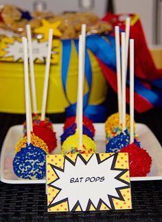 Superhero cake pops.  Would be fun to bake.  No recipe here, just link to a blog.  How cute are these @Jessica Hipp ??