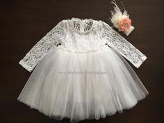 French White Ballerina Baptism Dress with Headband