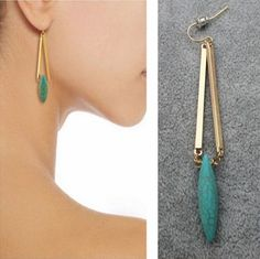 Bohemian Wind Jewelry Turquoise Pendant Earrings Fashion Simple Earrings Dt98