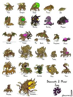 Starcraft II Minis: Zerg by Draguunthor on deviantART
