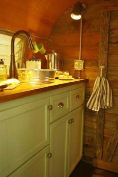Exposed wiring and plumbing Vintage camper glamper