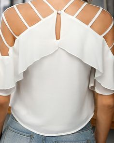 Ladder Cut Out Ruffles Casual Blouse Best African Dresses, Kurti Designs Party Wear, Sleeve Styles, Blouses For Women, Casual, Ruffles, Ideias Fashion, Cute Outfits, Womens Fashion