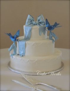 Cinderella Blue Bird Cake...Add figure topper for girls Birthday cake.