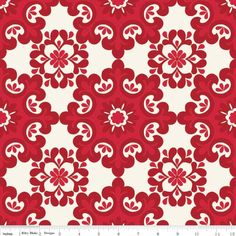 Ornate Damask Red at Four Peaches Fabric