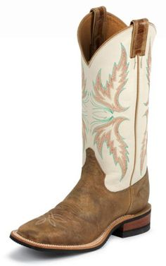 boots: Justin Boots Women's U. Bent Rail Collection Boot Wide Square Double Stitch Toe Performance Rubber Outsole,Tan Puma/Ivory C US Mode Country, Country Boots, Country Style, Country Life, Country Girls, Cute Cowgirl Boots, Cute Boots, Cowgirl Hats, Gypsy Cowgirl