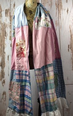 Oversize Up Cycled Boho Patchwork Scarf Scrappy Scabby Chic Sewing Clothes, Diy Clothes, Diy Scarf, Handmade Scarves, Summer Scarves, Sustainable Clothing, Refashion, Boho Fashion, Boho Chic
