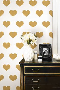 A Gold touch. Brewster Home Fashions Gold Heart Wall Decals!